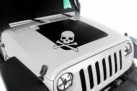 jeep black 2015 rugged ridge jk jeep black hood decal with skull