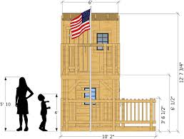 side isometric view of deluxe playhouse plan two story playhouse