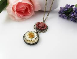 glass flower necklace images 28mm resin real flower pendant necklace pressed flower necklace JPG