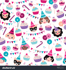 kids wrapping paper seamless kids happy birthday girl cupcake garland happy animals