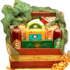 Meat And Cheese Gift Baskets Deluxe Bamboo Cutting Board Snacks