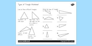 types of triangle worksheet australia triangle types