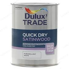 dulux trade quick drying satinwood paint brilliant white 1l