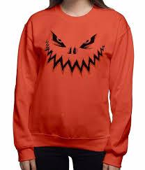 halloween t shirts for women amazon com halloween sweaters crew neck pumpkin face 1 pullover