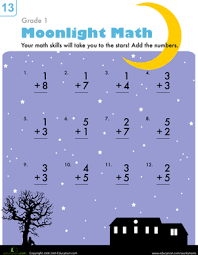 Ist Grade Math Worksheets Moonlight Math Worksheet Education Com