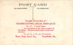 description of thanksgiving vernfield pennsylvania nyce post card company advertising pennant
