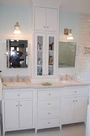 Bathroom Vanity Storage Tower Custom White Bathroom Vanity With Tower By Wooden Hammer Llc