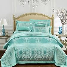 Bedding Sets Luxury Aqua Green Bedding Set Luxury Jacquard Bedspreads Satin