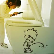 bathroom sign 3d wall sticker cute funny bad boy toliet sticker see larger image