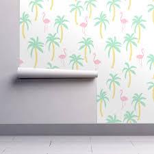 palm tree fabric flamingo summer wallpaper by andrea lauren