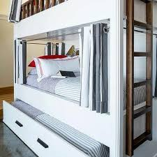 White Bunk Bed With Trundle White And Charcoal Gray Striped Bunk Bed Curtains Design Ideas