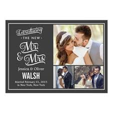 wedding announcement new mr and mrs wedding announcement charcoal zazzle
