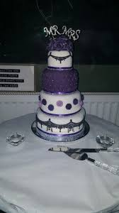 purple and bling wedding cake with black lace detail cake ideas