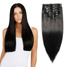 remy clip in hair extensions 8 pcs weft clip in remy hair extensions 1 black