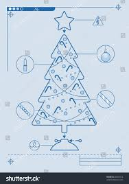 blueprint style instructions decorating christmas tree stock