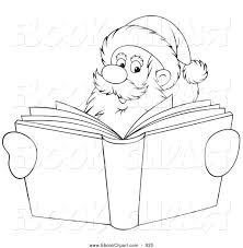 vector clip art of a coloring page outlined santa smiling over a