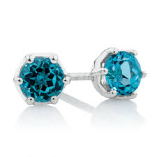 blue topaz earrings stud earrings with blue topaz in 10kt white gold
