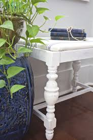 Vanity Bench Seat Vanity Bench Makeover Chalk Painted In Pure White 2 Bees In A Pod