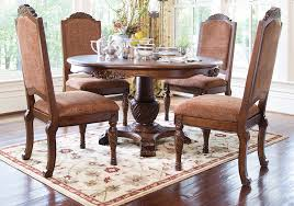 Dining Room Arm Chairs North Shore Round Pedestal Dining Table And 4 Upholstered Arm
