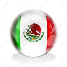 mexico in the world map sphere of mexican flag with world map stock photo picture