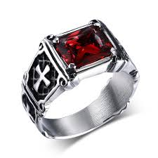 cross jewelry rings images Men punk ring black and red crystal stone ring vintage punk jpg