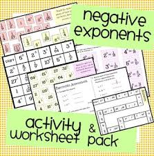 negative exponents worksheet assessment u0026 activity pack by nicola
