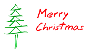 merry christmas card with christmas tree over white background
