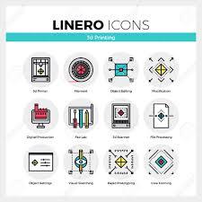 line icons set of 3d printing volumetric modeling machine modern