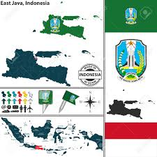 Map Java Vector Map Of Region East Java With Coat Of Arms And Location