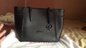 Tas Guess review guess delaney medium black studed bahasa indonesia