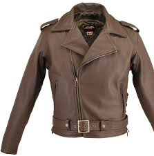 mens leather moto jacket full belted brown motorcycle leather jacket with side and belt