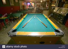 Valley Bar Table Pool Table Lit By Electric Lights In A Restaurant And Bar In