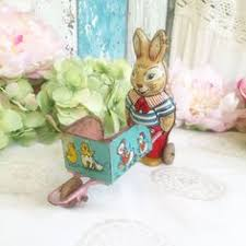 antique easter decorations chein tin litho rabbit with basket easter pull j chein