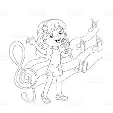 coloring page outline of cartoon singing a song stock vector