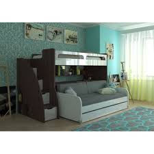 Bunk Bed With Sofa Bed Brayden Studio Gautreau Futon Bunk Bed With Table And Trundle