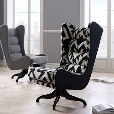 Black And White Armchairs Cobb Swivel Wing Chair Chevron West Elm