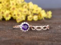 amethyst diamond engagement ring 1 2 carat round amethyst bridal set 14k rose gold flower