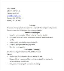 Walmart Cashier Resume Sample by Cashier Resume Template U2013 16 Free Samples Examples Format
