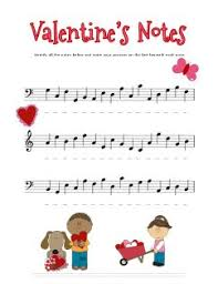 cut free valentines music theory worksheet for practicing note