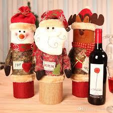 decorations santa claus wine gift box snowman