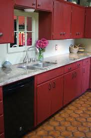 red kitchen with dark cabinets photo for sale st louis mo oak