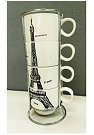 elegant paris eiffel tower set of 4 stacking porcelain espresso