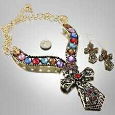 colored necklace set images Multi colored crystal cross necklace set JPG