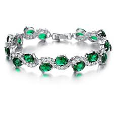 diamond bracelet ladies images New plated white gold hand chain green crystal diamond bangle jpg