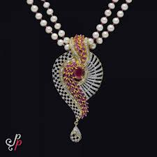 necklace set image images 2 lines grand pearl necklace set in magnificent ruby pendant jpg