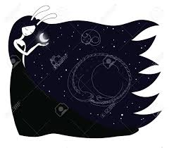 vector illustration of a moon goddess with bunny ears
