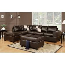 Modern Bonded Leather Sectional Sofa 3 Piece Modern Reversible Tufted Bonded Leather Sectional Sofa