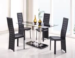 luxury black dining table set glossy white floor large glass