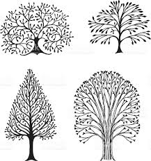 White Oak Tree Drawing Four Trees Stock Vector Art 114158899 Istock