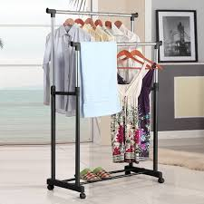 adjustable double clothes garment drying hanging racks rolling
